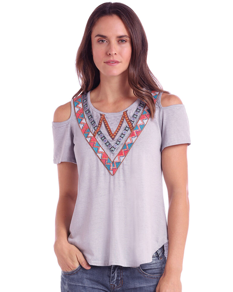 White Label by Panhandle Women's Embroidered Burnout Cold Shoulder Top, Grey, hi-res