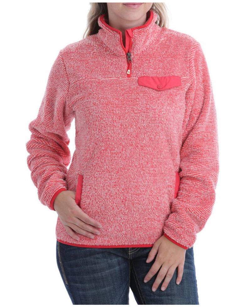 Cinch Women's Coral Two-Tone Fleece Pullover , Coral, hi-res