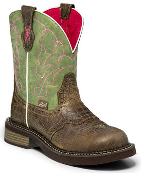 "Justin Women's 8"" Gator Print Western Boots, Green, hi-res"