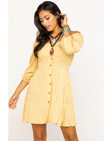 Angie Women's Yellow Stripe Button Down Dress , Dark Yellow, hi-res