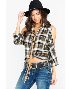0418c4358c8 Shyanne Women s Plaid Cold Shoulder Button Top