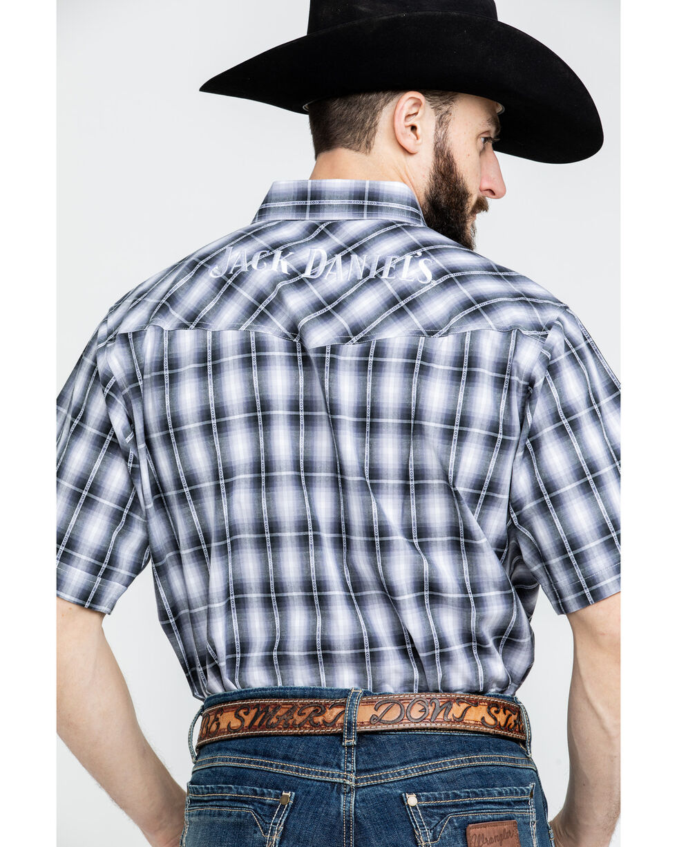 Jack Daniels Men's Textured Plaid Short Sleeve Western Shirt , Black, hi-res