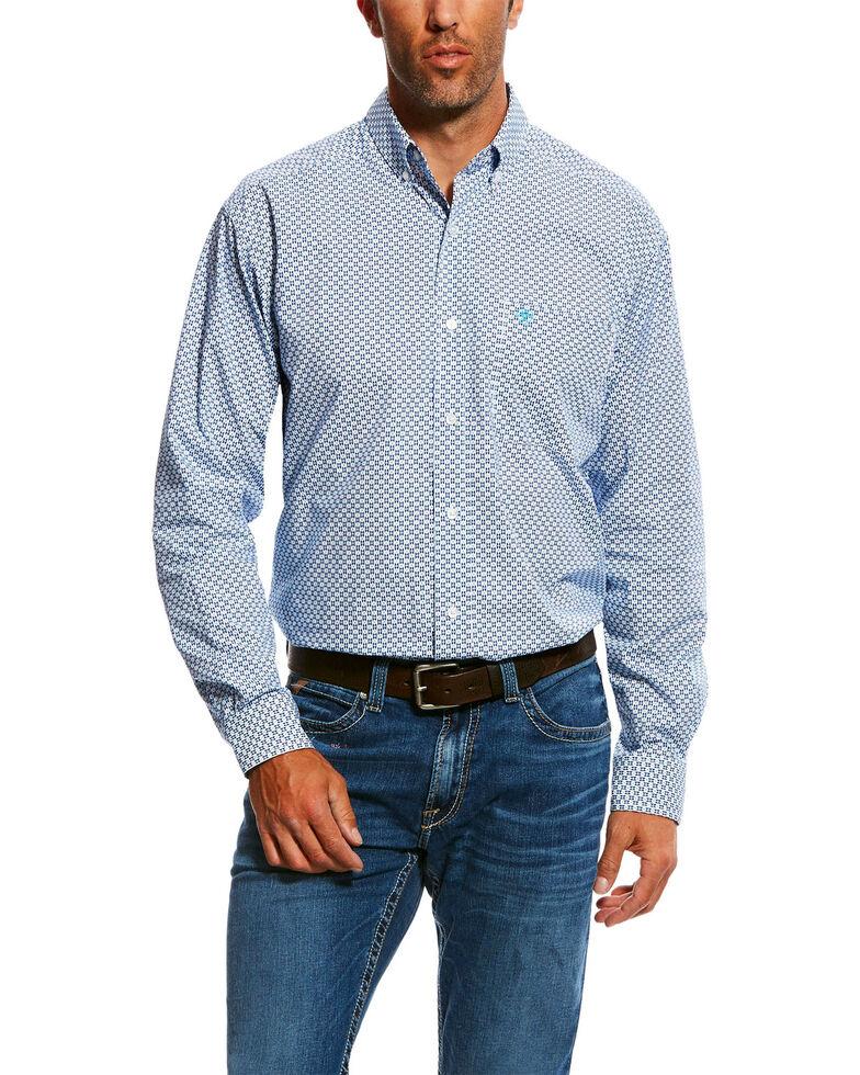 Ariat Men's Nedderman Geo Print Long Sleeve Western Shirt , White, hi-res