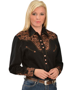 07c857c6d93 Scully Women s Floral Embroidered Long Sleeve Western Shirt