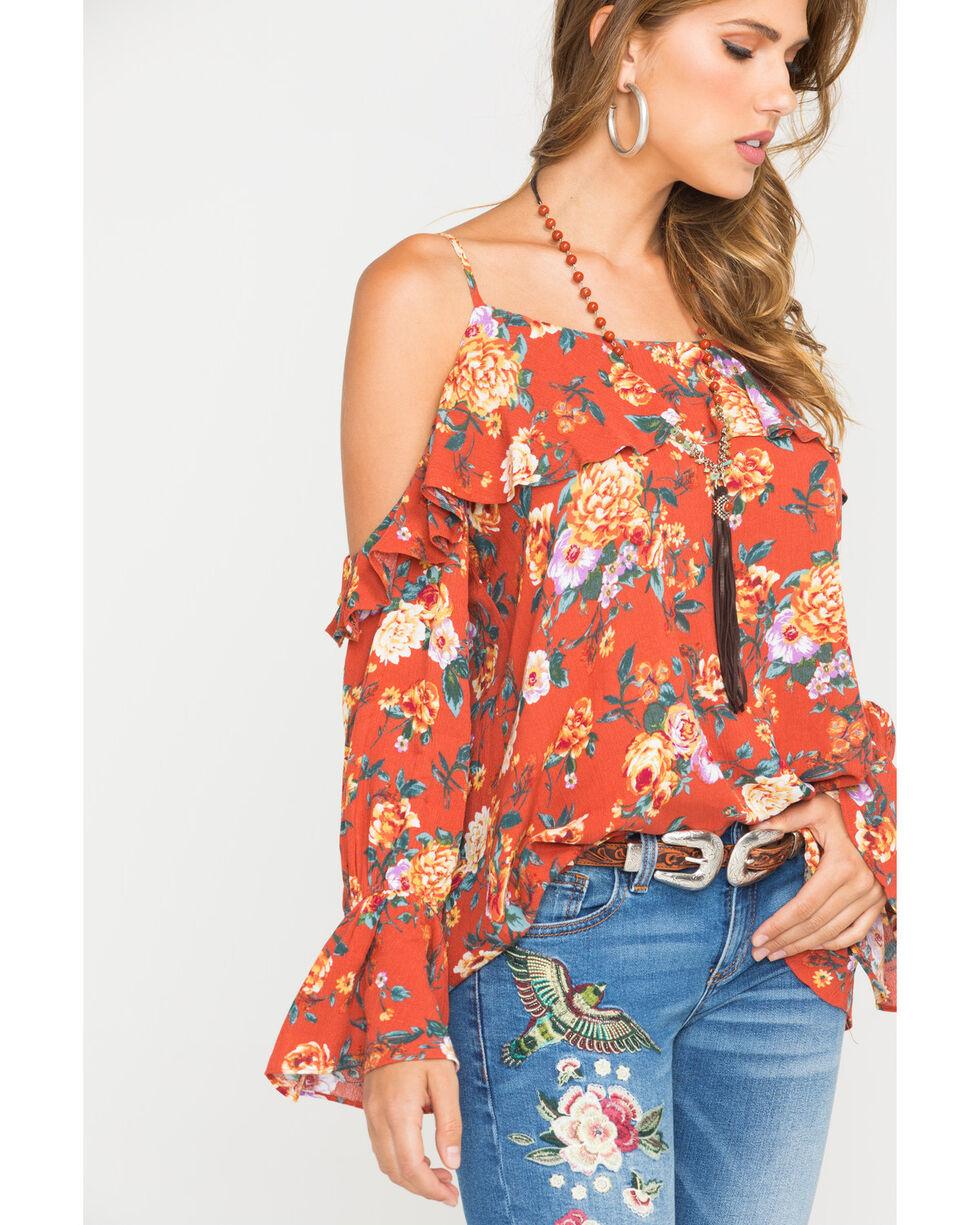 Miss Me Women's Floral Cold Shoulder Ruffle Sleeve Blouse, Rust Copper, hi-res