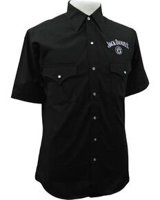 Jack Daniel's Men's Black Solid Logo Short Sleeve Shirt , Black, hi-res