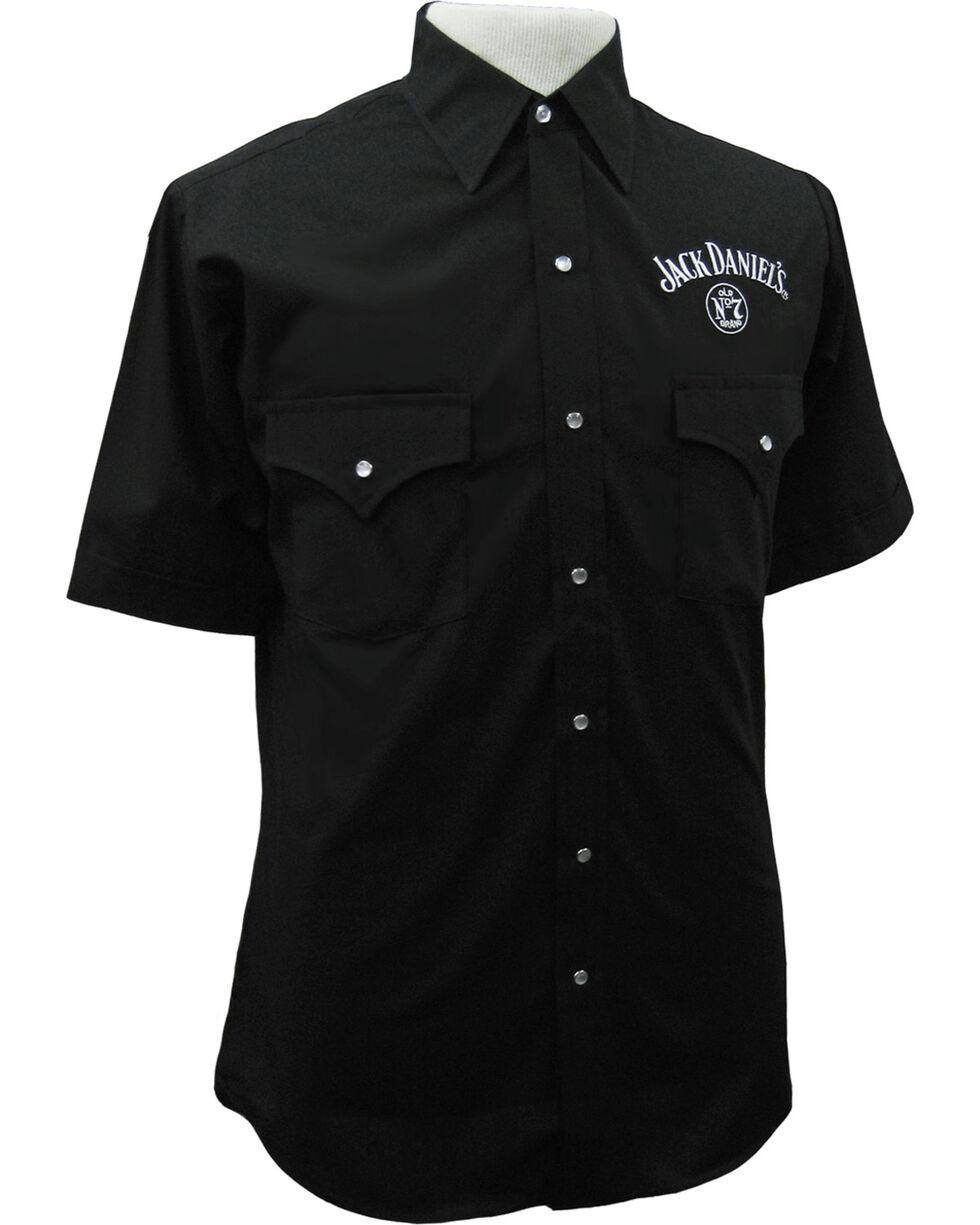 Jack Daniel's Men's Black Solid Logo Short Sleeve Shirt , Black, hi-res