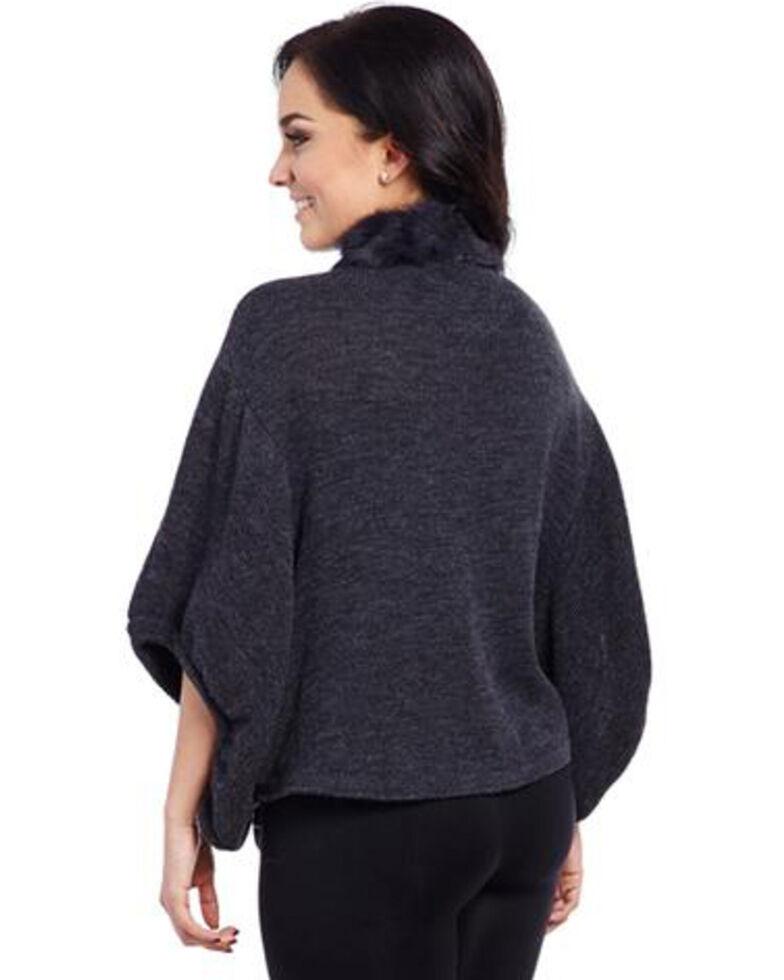 Cripple Creek Women's Charcoal Rabbit-Trimmed Sweater, Charcoal Grey, hi-res