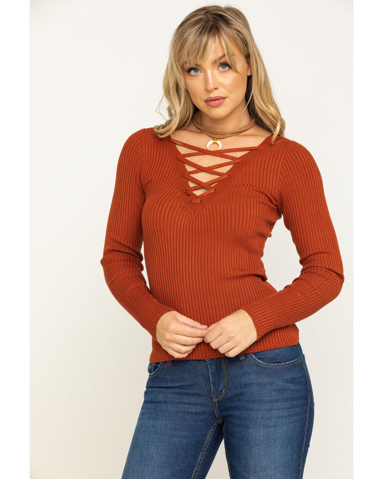 Shyanne Women's Rust Rib Knit Lace Up Solid Top, Rust Copper, hi-res