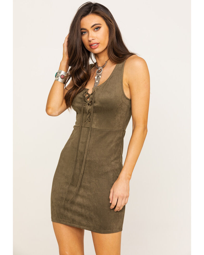 Flying Tomato Women's Olive Lace Up Dress, Olive, hi-res