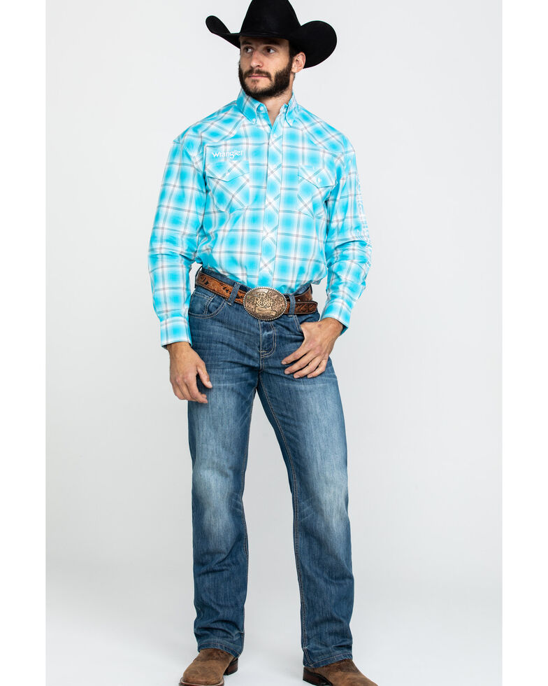 Wrangler Men's Turquoise Logo Large Plaid Long Sleeve Western Shirt , Turquoise, hi-res