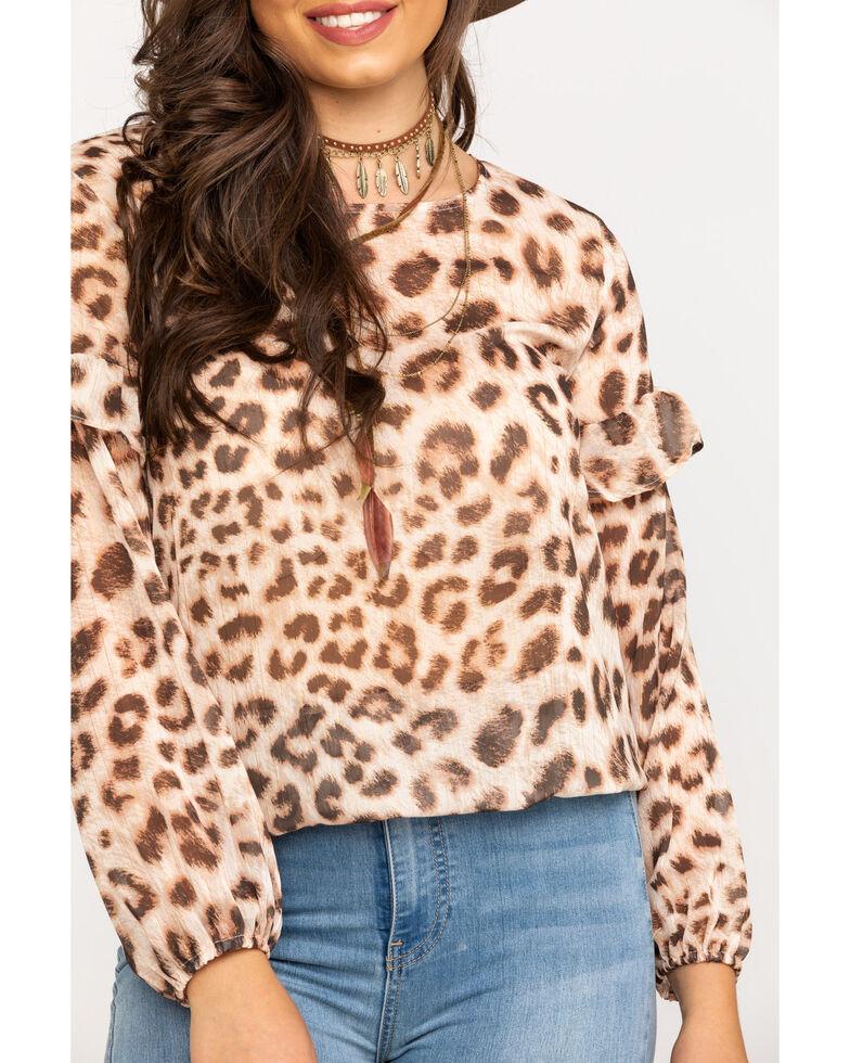 Wrangler Women's Sheer Leopard Blouse, Leopard, hi-res