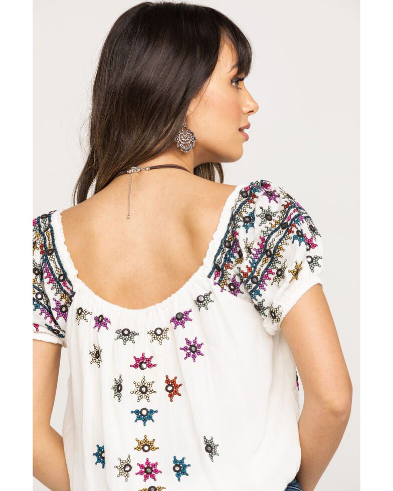 Free People Women's Aurura Embroidered Top, White, hi-res