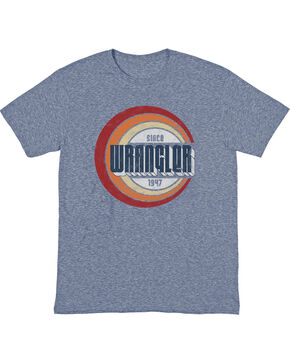 Wrangler Men's Denim Heather Retro Wrangler T-Shirt , Brown, hi-res