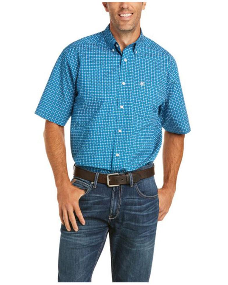 Ariat Men's Castor Geo Print Short Sleeve Button-Down Western Shirt - Tall , Blue, hi-res
