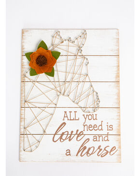 BB Ranch Horse and Love String Art Wall Decor , White, hi-res