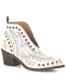 Corral Women's Studded White Booties, White, hi-res