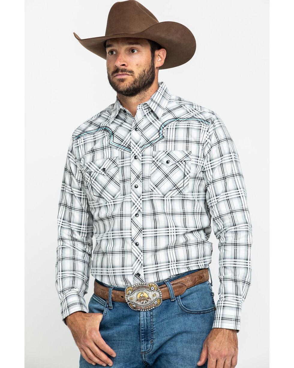 MRC343M Rock 47 Wrangler Men/'s Long Sleeve Brown /& Turquoise Plaid Western Shirt