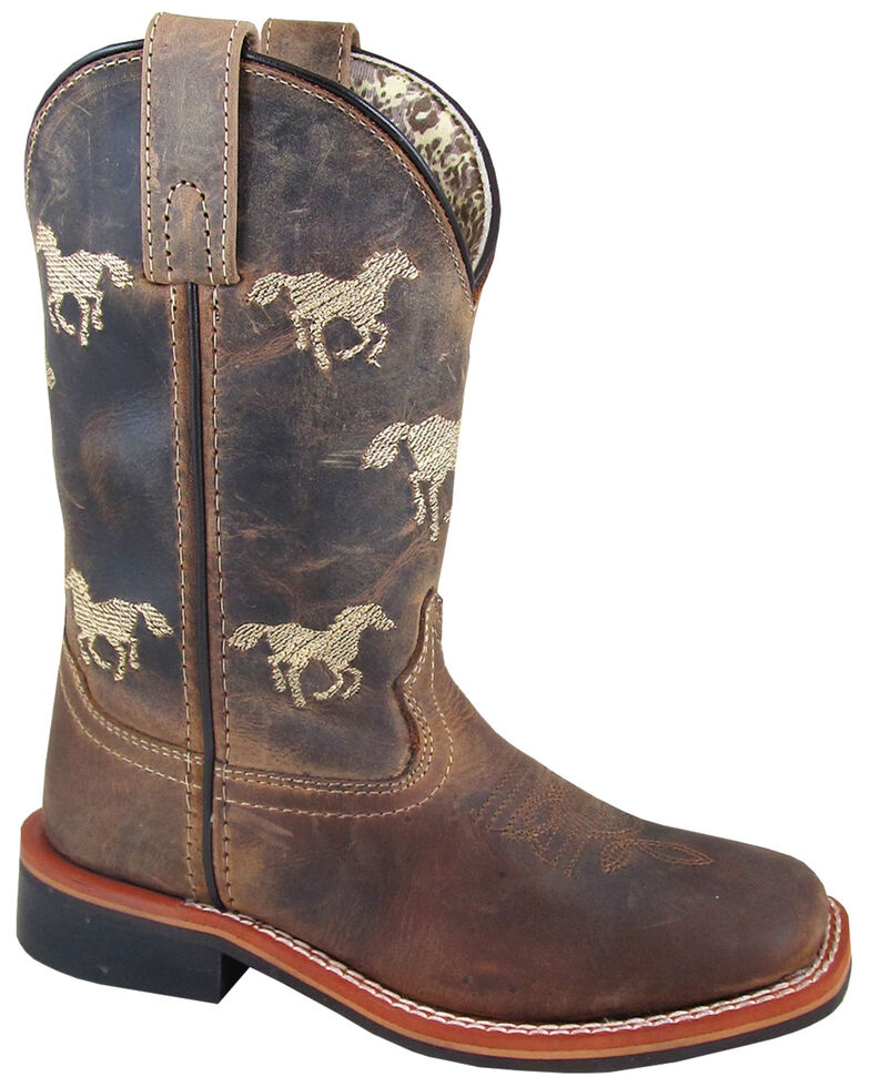 Smoky Mountain Boys' Buffalo Western Boots - Square Toe, Brown, hi-res