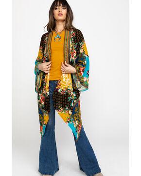 Flying Tomato Women's Patchwork Kimono , Dark Yellow, hi-res