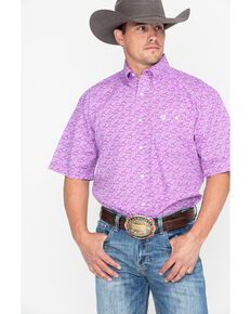 George Strait by Wrangler Men's Purple Paisley Short Sleeve Western Shirt, Purple, hi-res