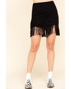 Flying Tomato Women's Olive Faux Suede Triangle Hem Fringe Mini Skirt, Black, hi-res