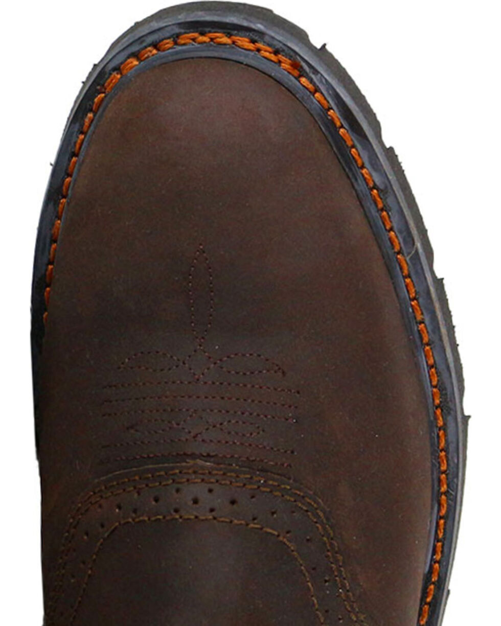 Cody James Men's Western Pull On Work Boots - Round Toe, Brown, hi-res