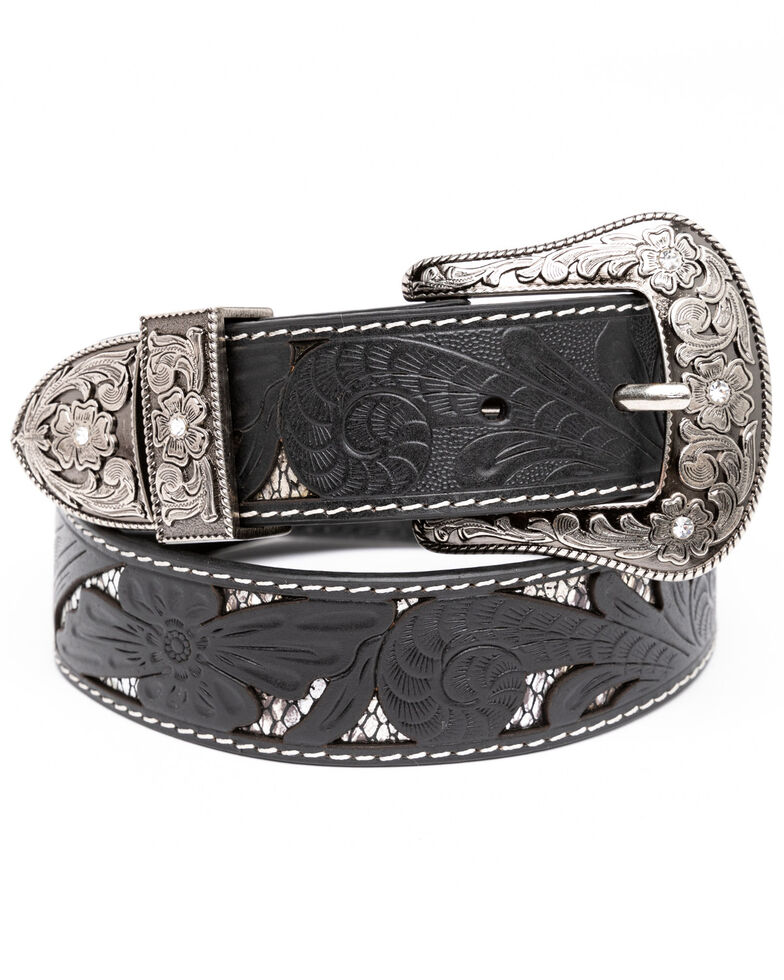 Shyanne Women's Black Python Cut Out Underlay Western Belt , Black, hi-res