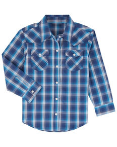 Wrangler Toddler Boys' Blue Large Plaid Long Sleeve Western Shirt , Blue, hi-res