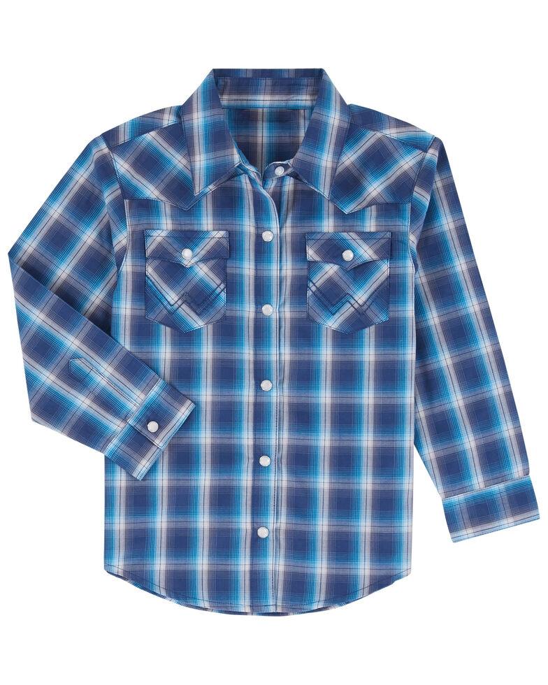 Wrangler Toddler Boys' Blue Large Plaid Long Sleeve Western Shirt , Blue, hi-res
