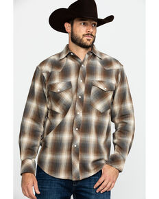 Resistol Men's Richland Ombre Plaid Long Sleeve Western Shirt , Lt Brown, hi-res