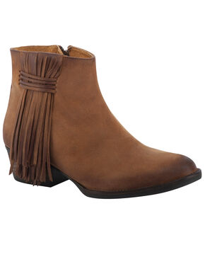 Circle G Women's Brown Fringe Side Short Boots - Round Toe, Tan, hi-res
