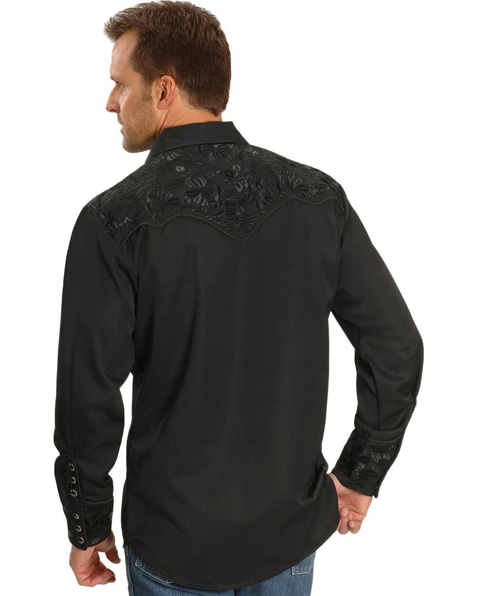 Scully Floral Embroidery Black Retro Western Shirt - Big & Tall, Jet, hi-res