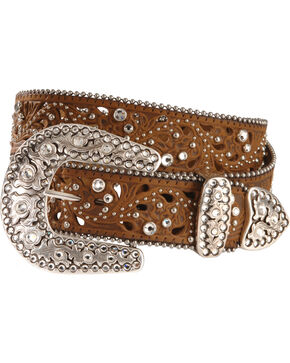 Justin Palazzo Bling Leather Belt, Aged Bark, hi-res