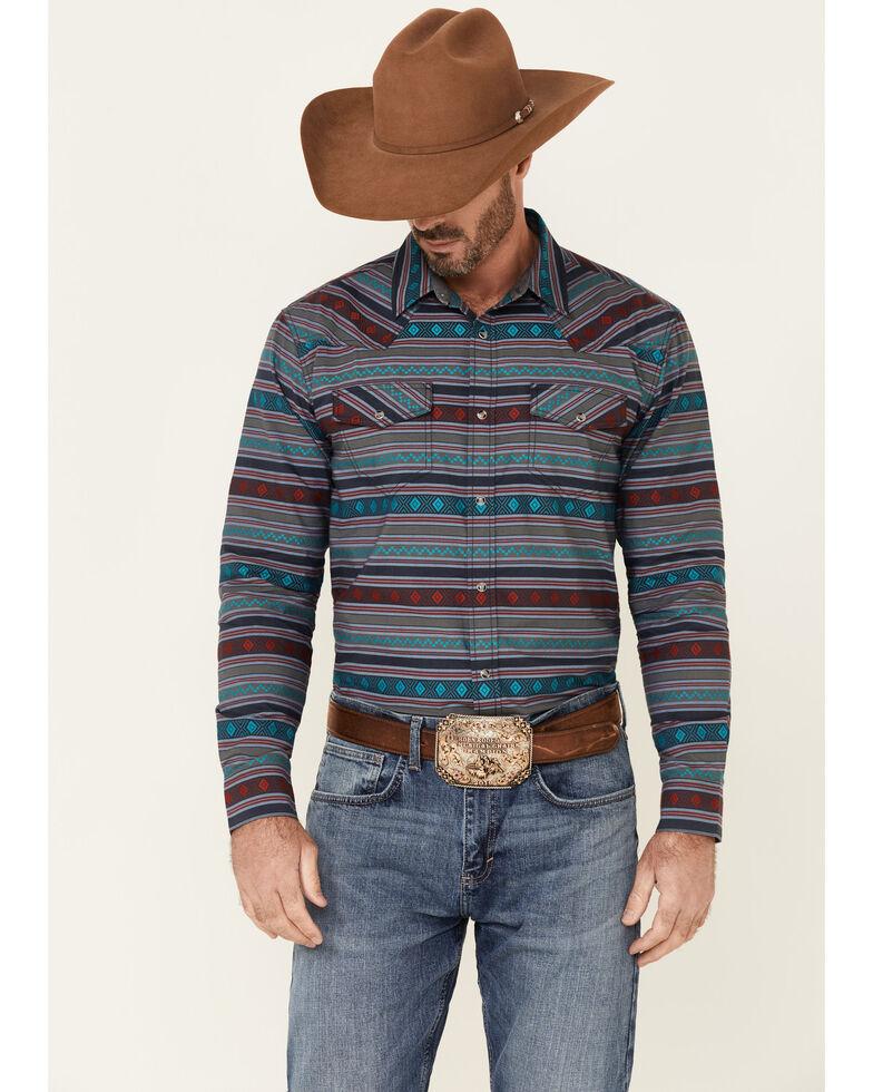 Cody James Men's Aztec Dobby Print Long Sleeve Snap Western Shirt , Navy, hi-res