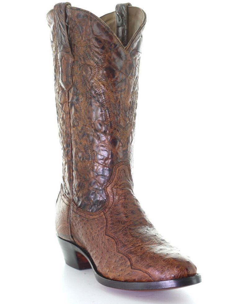 Corral Men's Exotic Ostrich Western Boots - Round Toe, Cognac, hi-res