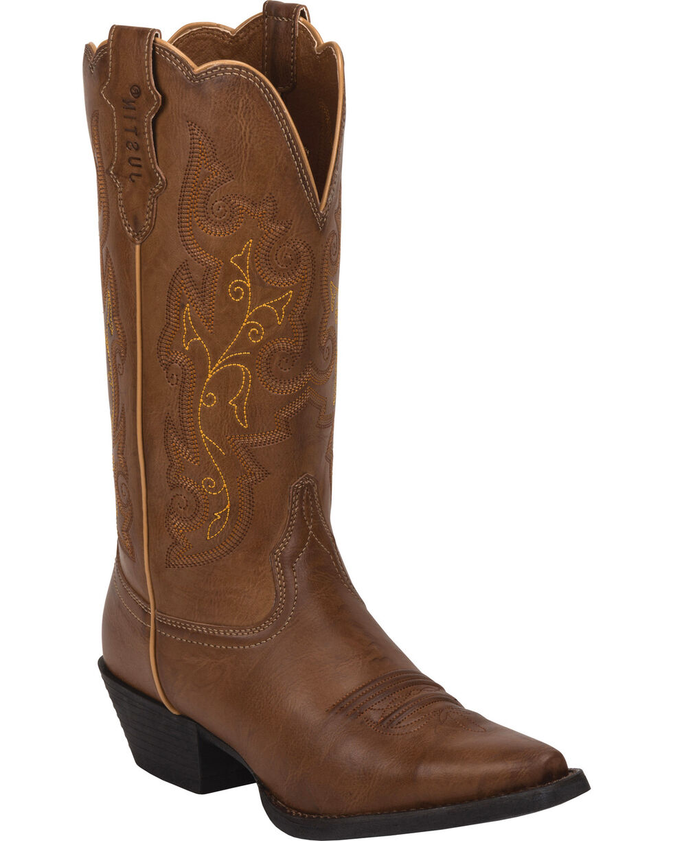 Justin Women's Farm & Ranch Western Boots, Wood, hi-res