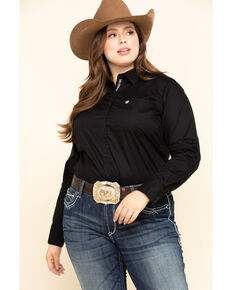Ariat Women's Black Kirby Stretch Shirt - Plus, Black, hi-res