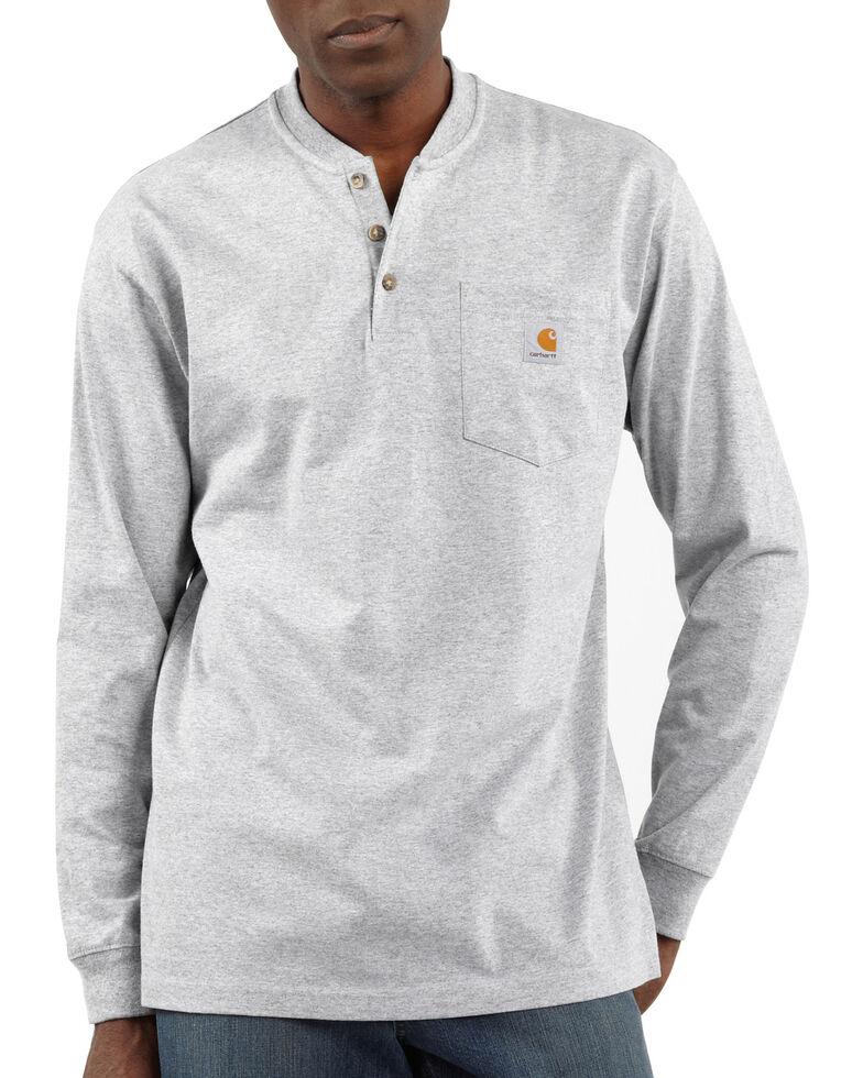 Carhartt Men's Workwear Henley Long Sleeve Shirt, Hthr Grey, hi-res