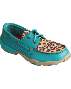 Twisted X Kids' Cheetah Print Driving Mocs, Turquoise, hi-res