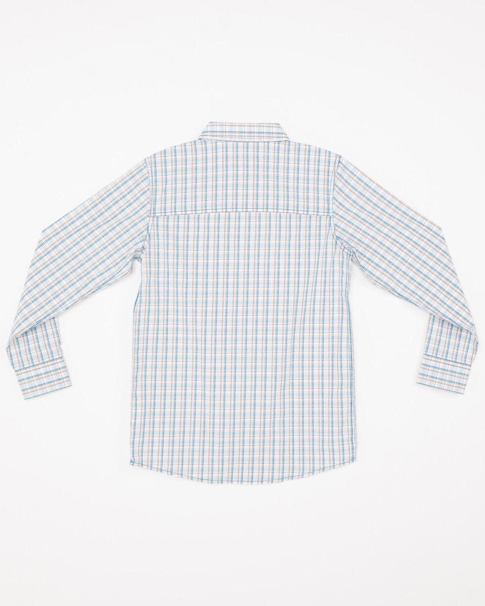Cody James Boys' Galena Print One Pocket Long Sleeve Western Shirt , Blue, hi-res