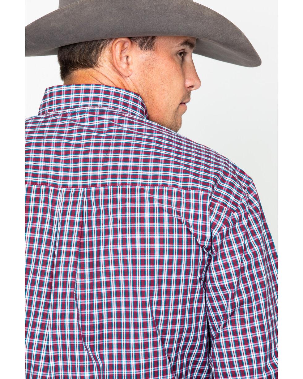 George Strait by Wrangler Men's Wine Plaid Long Sleeve Western Shirt, Wine, hi-res
