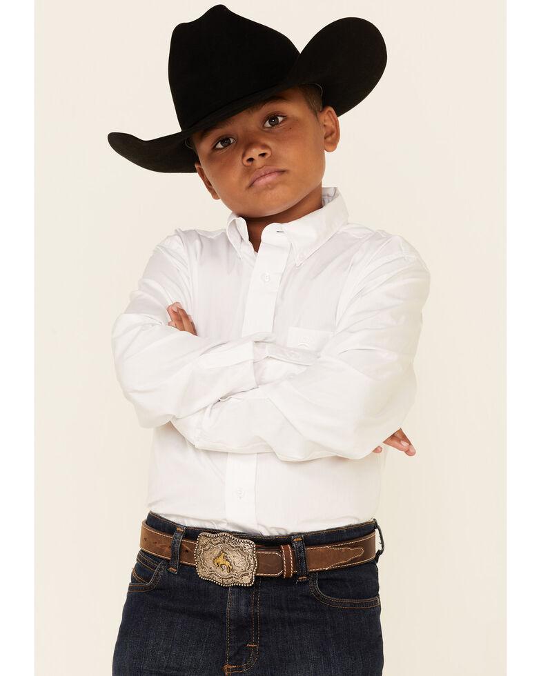 Cinch Boy's Solid Long Sleeve Shirt, White, hi-res