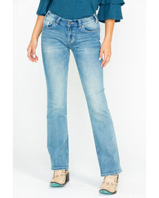 Rock & Roll Cowgirl Women's Extra Stretch Bootcut Jeans, Light Blue, hi-res