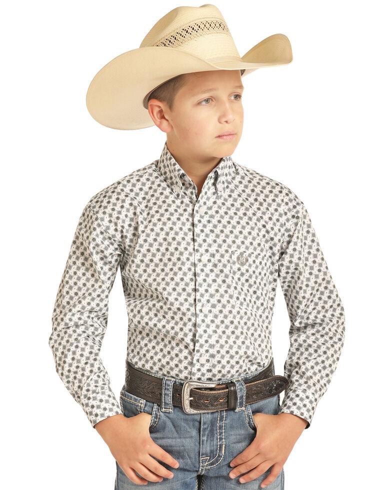 Panhandle Select Boys' Ivory Brushed Geo Print Long Sleeve Western Shirt , Ivory, hi-res