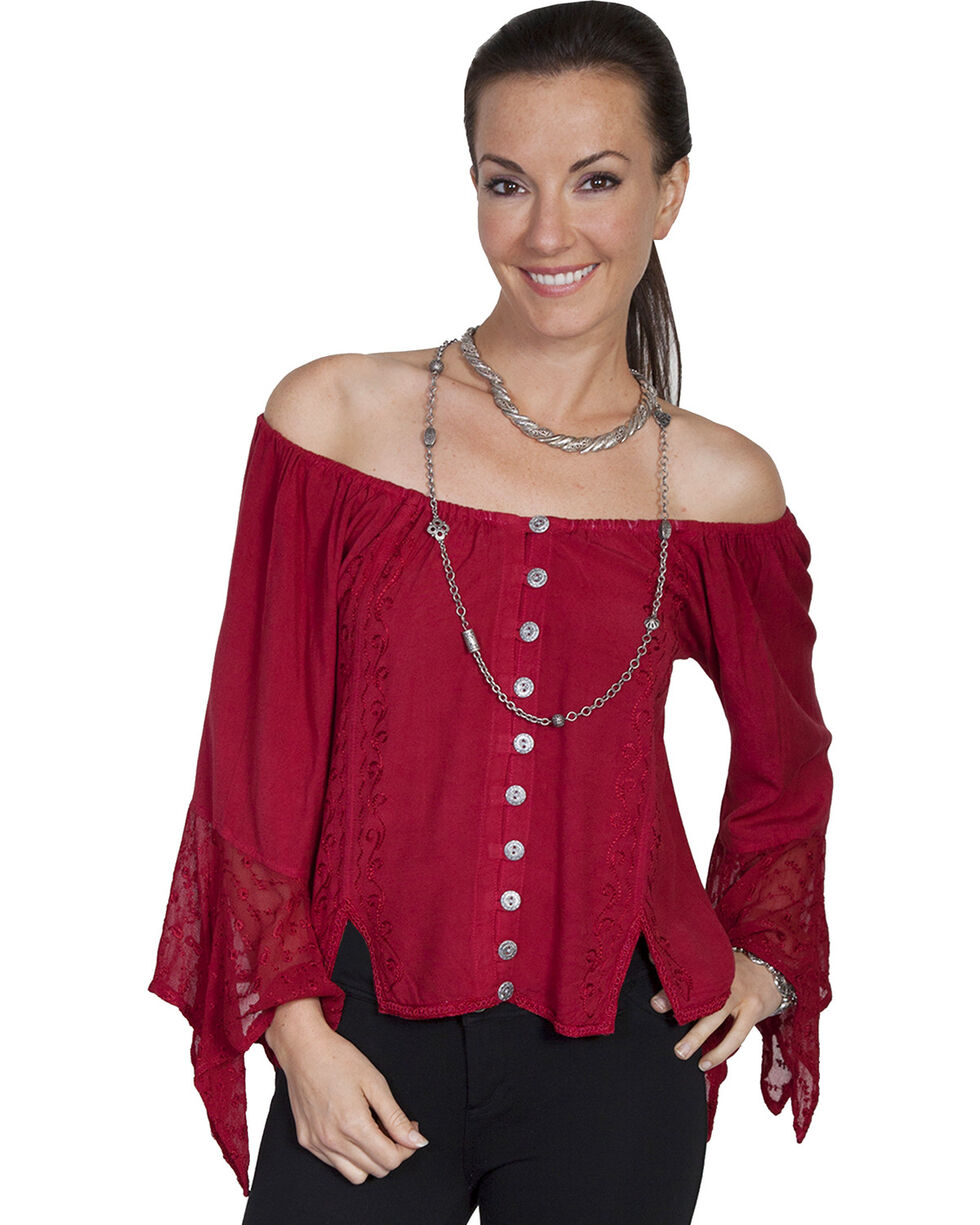 Scully Women's Off-the-Shoulder Lace Blouse, Burgundy, hi-res