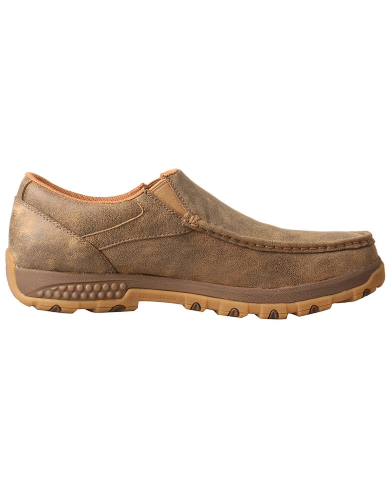 Twisted X Men's CellStretch Slip-On Driving Shoes - Moc Toe, Brown, hi-res
