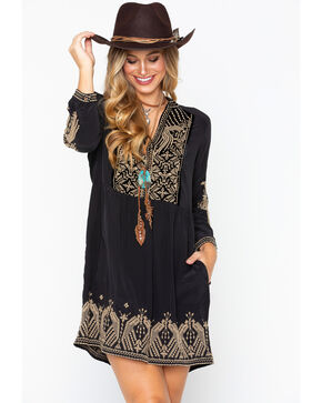 Johnny Was Women's Himmel Boho Henley Dress , Black, hi-res