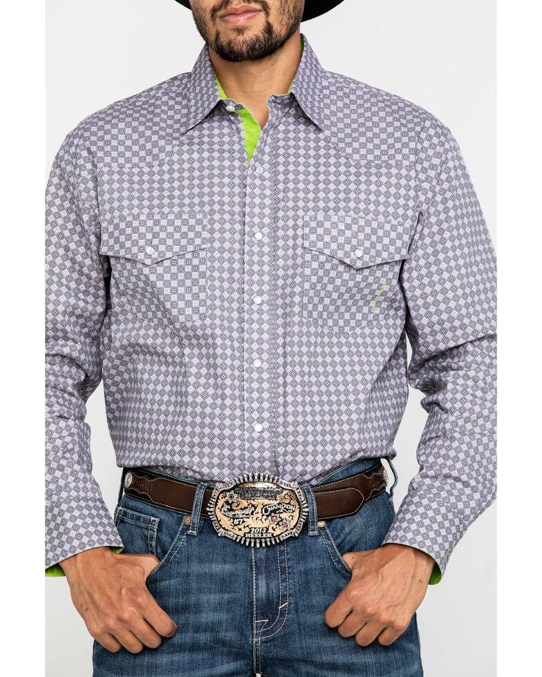 Resistol Men's Grey Clewiston Geo Print Long Sleeve Western Shirt , Grey, hi-res