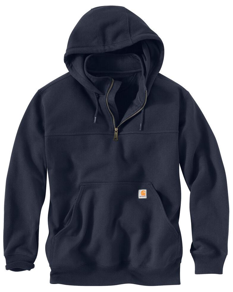 Carhartt Men's Rain Defender Paxton Hooded Zip Mock Work Sweatshirt, Navy, hi-res